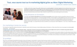 article sur le mook Marketing digital